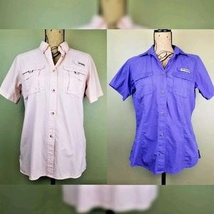 Bundle of 2 Columbia Pfg Button Front Shirts Med